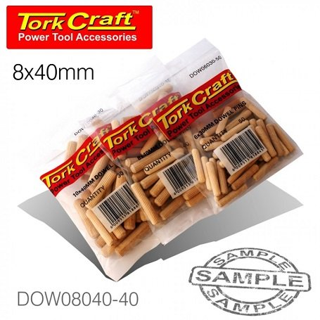 40 Pieces Per Bag Dowels 8x40mm (DOW08040-40)