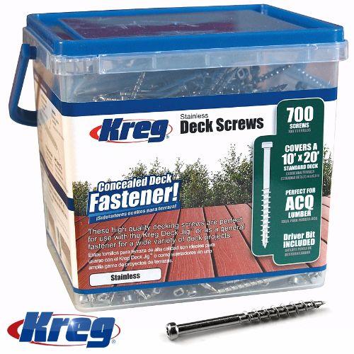 Kreg Stainless Steel Deck Screws 2″ #8 Coarse Pan Head 700ct