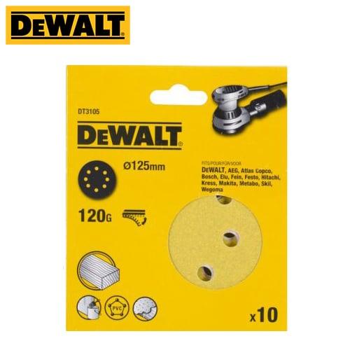 Dewalt DT3105-QZ Sanding Disc 125mm 120 Grit 10/Pk